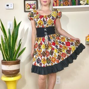 Vintage 60s mod patchwork corset mini dress S